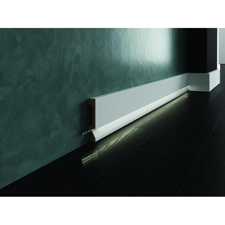 Biała lakierowana listwa oświetleniowa przypodłogowa poliuretanowa,do podświetleń, cokół Creativa LPC-29M-LE / dł. 244 cm Creati