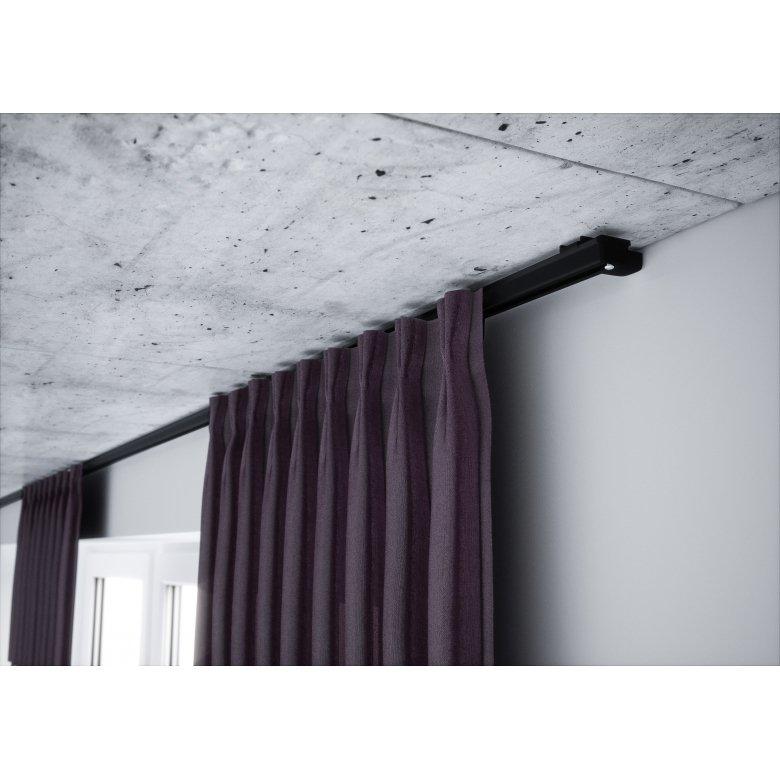 Czarna Aluminiowa szyna do firan pojedyncza kompletna ZS-150 | 150cm Creativa by Cezar - 1