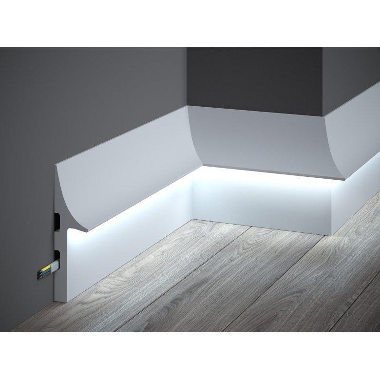 Listwa przypodłogowa poliuretanowa Mardom Decor do podświetlania LED QL008 One-Premium - wysokość 15cm