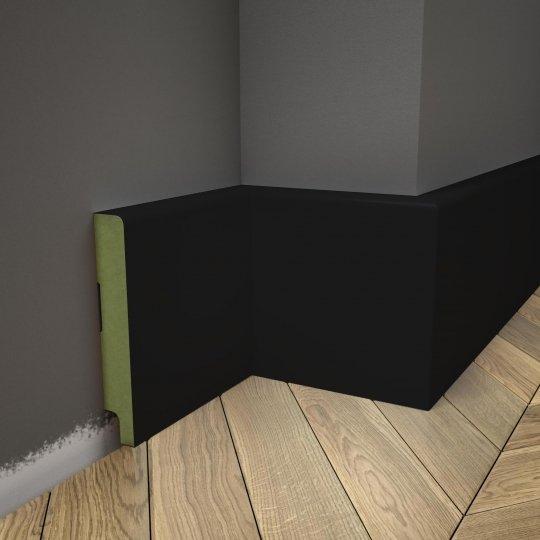 Listwa przypodłogowa czarna lakierowana RAL9005 MDF WILGOCIOODPORNY (Trio - 100x16 mm)