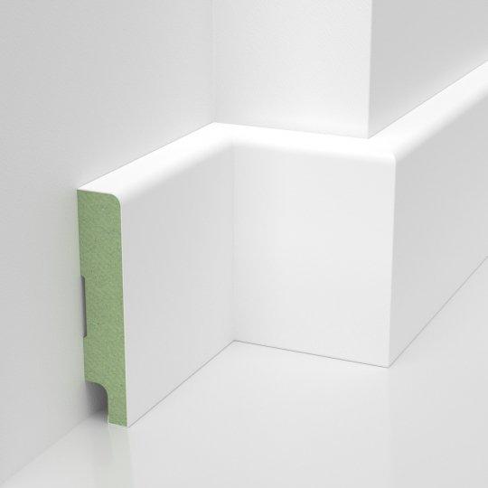 Listwa przypodłogowa biała maskująca lakierowana MDF WILGOCIOODPORNY (Trio - 80x16 mm)