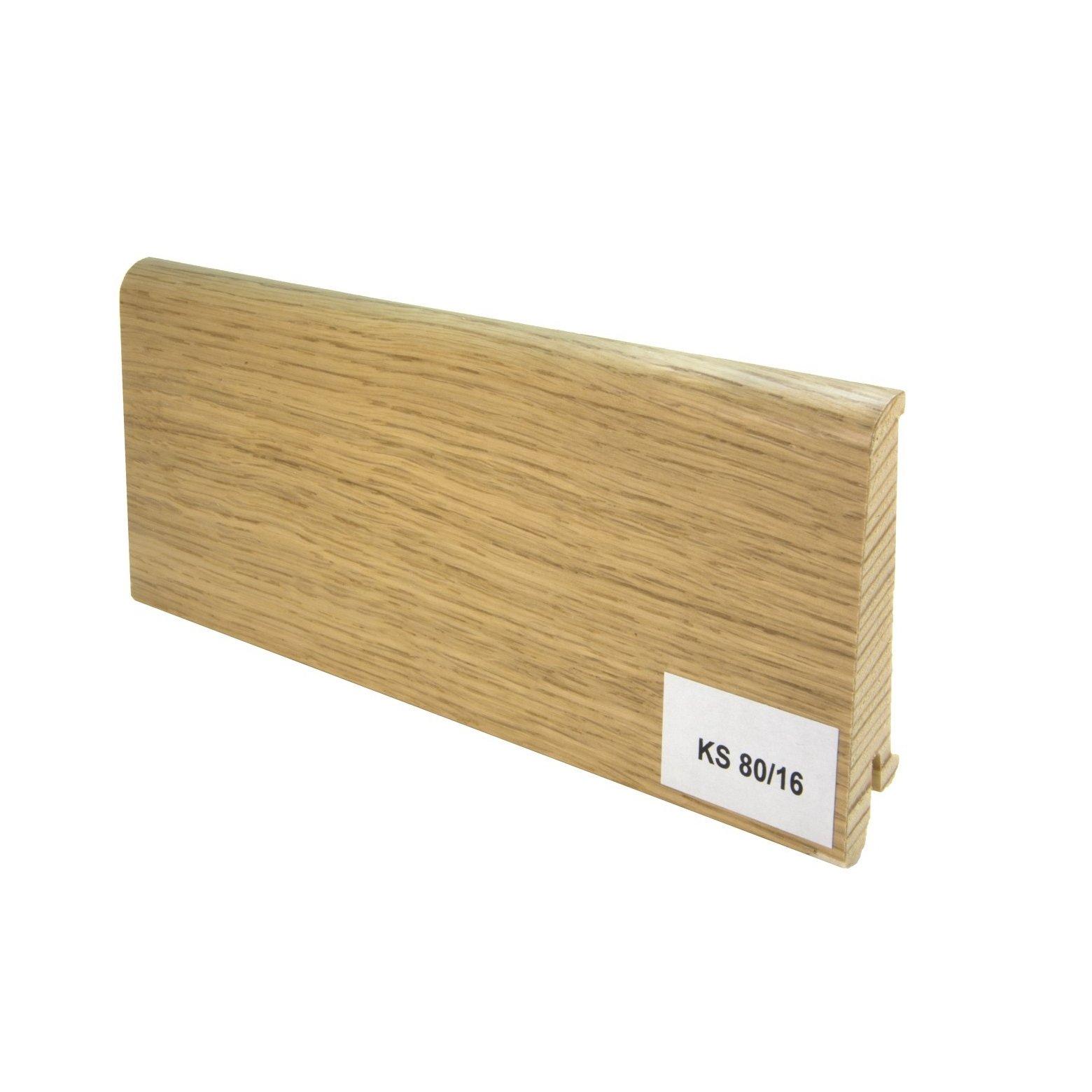 Listwy drewniane dębowe (80/16 mm) Dąb europejski lakierowana