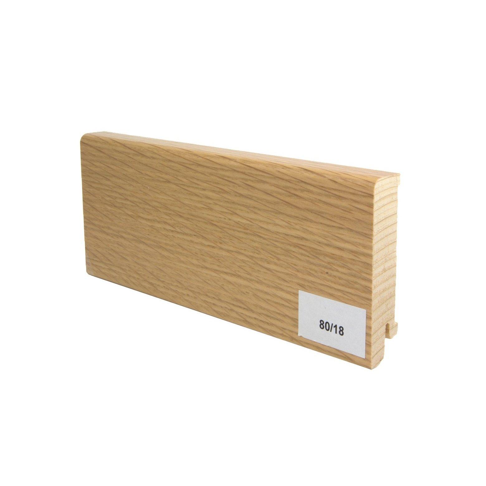 Listwa przypodłogowa drewniana (80/18 mm) DĄB EUROPEJSKI LAKIEROWANA