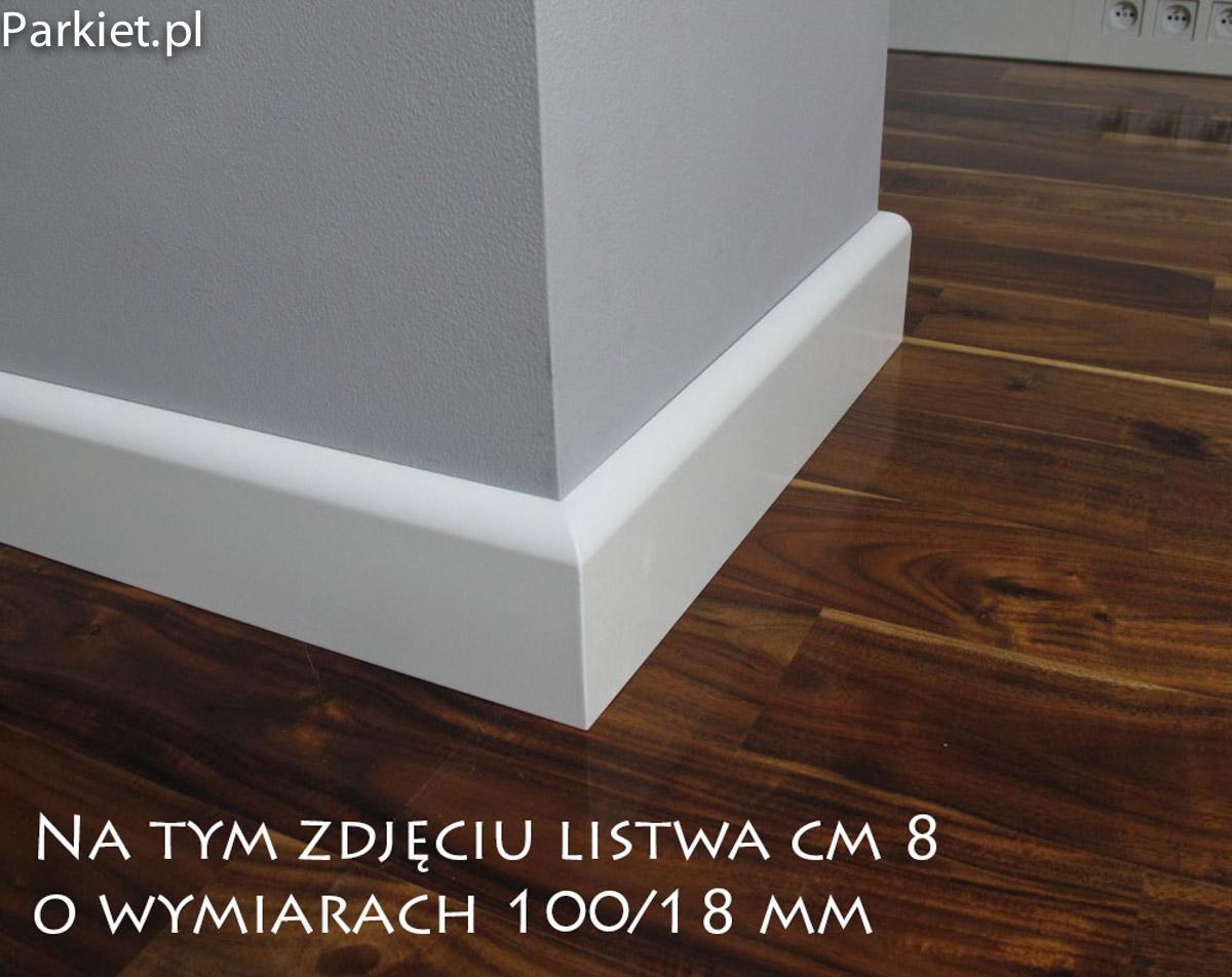 Listwa przypodłogowa lakierowana na biało profil CM 8